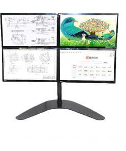 Quad LCD Computer Monitor Laptop Stand Mount Free Standing Heavy Duty Desk Stand Fully Adjustable Holds 4 Screens up to